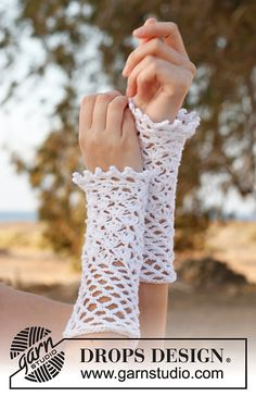 Ravelry: 148-7 Myrtle - Wrist warmers with lace pattern in Safran by DROPS design.. These are so lacy and pretty,and there's a free pattern!