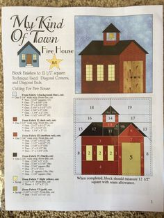 Sewing Block Quilts My-Kind-Of-Town-Fire-House-Block-Quilt-Leaflet-Pattern-By-Pam-Bono-Designs - House Quilt Patterns, House Quilt Block, Paper Piecing Patterns, Quilt Block Patterns, Pattern Blocks, Quilt Blocks, Quilting Projects, Quilting Designs, Quilting Ideas