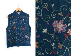 by LiveToLiveVintage Blue Vests, Vintage Denim, Colorful Flowers, Dark Blue, Boho, Pretty, Cotton, How To Make, Shirts