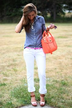 Chambray, white crops, wedge sandals, coral accents.