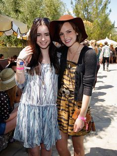 Lily Collins and Emma Watson at the Coachella Mulberry BBQ Pool Party.