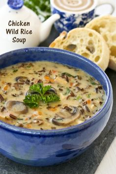This Chicken Wild Rice Soup is a hearty creamy soup made with cooked chicken, nutty wild rice, and mushrooms. It is a bowl of comfort any time of the year. | Food to gladden the heart at RotiNRice.com