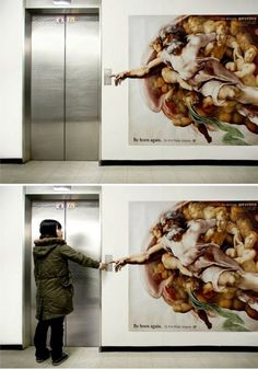 """❥ elevator ad for a plastic surgeon based on Michelangelo's """"Creation of Adam""""."""