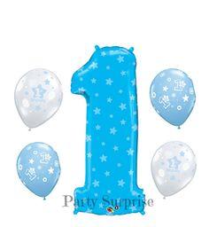 Boy 1st Birthday Jumbo 1 Blue Balloon Mylar Foil by PartySurprise