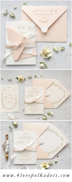 Modern calligraphy has just stolen our hearts! We hope you love the trend as much as we do. Very elegant and romantic touch to the wedding stationery. Invitations in pastel Peach & Ivory color scheme can work perfectly for any wedding theme #elegant #wedding