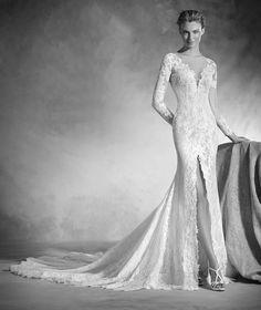 Nenufar - Brautkleid im Meerjungfrau-Stil aus Spitze mit U-Boot-Ausschnitt und langen Ärmeln