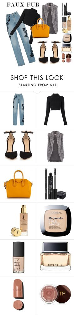 """Faux fur"" by mfgarcia2001 ❤ liked on Polyvore featuring Jonathan Simkhai, Balmain, Gianvito Rossi, DKNY, Givenchy, Rodial, L'Oréal Paris and NARS Cosmetics"