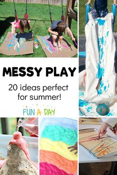 Messy play is the cure-all for summer boredom! These open-ended art and sensory experiences are incredibly engaging for kids.and adults too! Preschool Teacher Tips, Summer Preschool Activities, Summer Crafts For Toddlers, Outdoor Activities For Kids, Preschool Lesson Plans, Sensory Activities, Sensory Play, Learning Activities, Teaching Kids