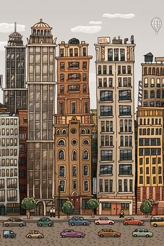 Ideas City Landscape Art For Kids Building Cityscape Drawing, City Drawing, House Drawing, Building Illustration, House Illustration, Landscape Illustration, City Sketch, Building Drawing, 8bit Art