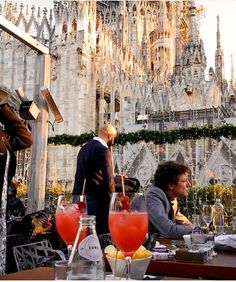 Rooftop bar by the Milan cathedral