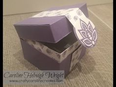 Hinged Flush Fitting Lid Gift Box, Video Tutorial using Paisleys and Poseys by Stampin' Up - YouTube
