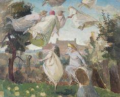 'Flying Applepickers' by Evelyn Dunbar, 1945-46 (oil sketch)