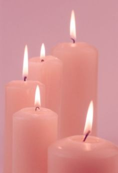 (Candle magick) Pink candles -- used for love, friendships, honor, fidelity, femininity, self-love, and harmony