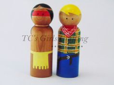 MontyandPeggie  Cowboys and Indians peg people, cowboy pegs, Indian pegs, peg people, wooden peg people, peg toys, wooden toys