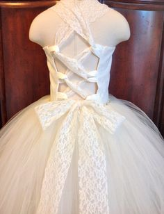 Wedding Lace Top Tutu Dress, Flower Girl Dress, Bridesmaids Tutu, Ivory, White