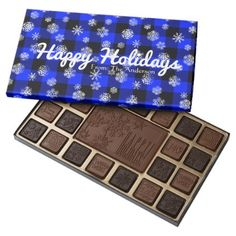 Snowflake Buffalo Plaid Blue l Happy Holidays Assorted Chocolates - winter gifts style special unique gift ideas