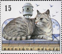 Sello: Domestic Cat (Felis silvestris catus) (Bélgica) (Cats) Mi:BE 2523 Vintage Stamps, Vintage Cat, Art Postal, Postage Stamp Art, Gatos Cats, Cat Posters, Thinking Day, Domestic Cat, Cat Drawing