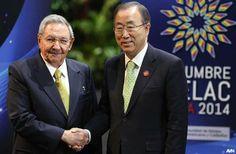 LA FOTO: SECRETARIO DE LA ONU VISITA CUBA Y ESTRECHA RELACIONES CON RAÚL CASTRO