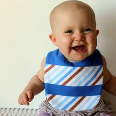 Royal Blue Stripe Baby Boy or unisex Bib by rainorshineshop, $14.00
