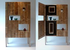Recycled Wood Cabinets Made from Recycled Floorboards | Captivatist