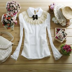 Free shipping women's peter pan collar lace chiffon shirt fashion slim all match straight long sleeve top basic shirt-inBlouses & Shirts from Women's Clothing & Accessories on Aliexpress.com | Alibaba Group