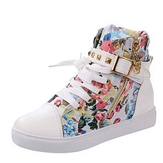 Rusway Cyber Monday Womens Stylish New Comfortable Skull Lace Up Buckle Zipper Skull Flats Sports Canvas Sneakers Shoes