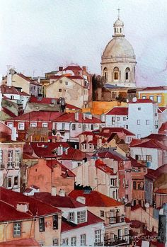 'Lisbon, Portugal' Photographic Print by Jo-anne Corteza Watercolor City, Watercolor Sketch, Watercolor Landscape, Watercolor Paintings, Watercolours, Watercolor Architecture, Illustration Art, Illustrations, Building Art