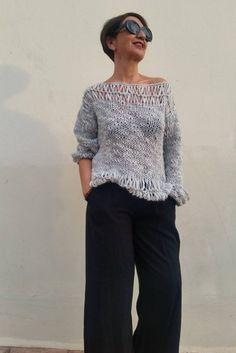 Jersey flojo gris suéter de mujer jersey de punto gris