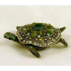 Green Turtle Crystal Jewelled Treasure Trinket Box