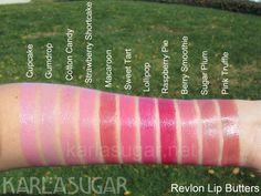 Revlon, Lip Butters, swatches, Cupcake, Gumdrop, Cotton Candy, Strawberry Shortcake, Macaroon, Sweet Tart, Lollipop, Raspberry Pie, Berry Smoothie, Sugar Plum, Pink Truffle, KarlaSugar, Karla Sugar