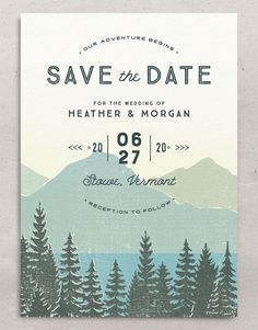 Vintage Mountainside Save The Date Cards Modern Save The Dates, Typography Layout, Outdoor Ceremony, Save The Date Cards, Card Sizes, Wedding Invitations, Invites, Vintage Inspired, Knots