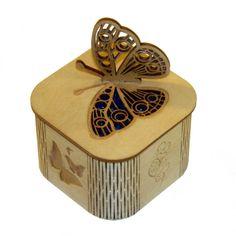 Laser cut Butterfly box (blue) with engraved butterflies around the sides.