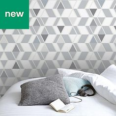 Porana Grey & white Scandinavian Textured Wallpaper - B&Q for all your home and garden supplies and advice on all the latest DIY trends Diy Wallpaper, Textured Wallpaper, Scandinavian Wallpaper, Living Spaces, Living Room, Types Of Rooms, Wall Patterns, Grey And White, Cleaning Wipes
