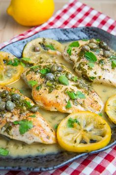 Chicken Piccata-----A super quick and easy chicken dish in a tasty lemon, butter and caper sauce.