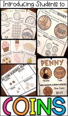Money math centers, activities, posters, and lesson ideas for introducing coins to kids! Money Activities, Kindergarten Math Activities, Homeschool Math, Preschool, Math Resources, Learning Activities, Homeschooling, Survival Kit For Teachers, Teacher Survival