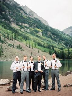 Groomsmen Attire: Gray Slacks + Bowties | See the wedding on SMP: http://www.StyleMePretty.com/2014/03/18/elegant-aspen-wedding-with-boho-flair/  Sarah Joelle Photography