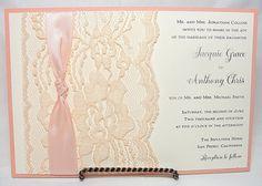 NINA - THIN KNOT Lace Wedding Invitation, Invite, Vintage, Shabby Chic, Couture