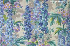Vintage Home - Beautiful 1930s Delphiniums Fabric.