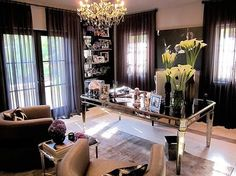 Exclusive Sneak Peek at Khloe Kardashian& Home Office With Get the Look Tips From Interior Designer Jeff Andrews Home Office Space, Home Office Design, Home Office Decor, Home Design, Home Decor, Design Ideas, Office Designs, Office Style, Ikea Office