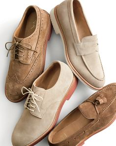 J.Crew men's wing tip, penny loafer with white sole, buck and tassel loafer Kenton suede shoes.