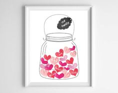 Personalized Family Name Art-Jar of Hearts Watercolor Printable from paper and palette