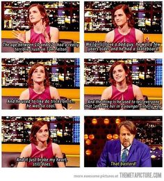 Emma talking about her young crush on Tom, I wish I could have seen him skating around doing tricks!