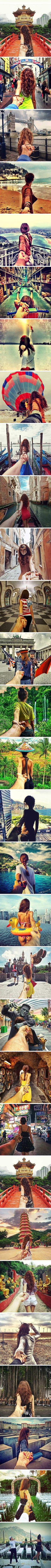 Photographers girlfriend leads him around the world....