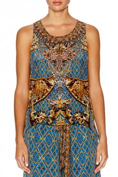 Camilla - Gilded Luxury / Button Back Top