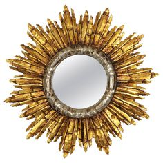 French Baroque Style Giltwood and Silver Sunburst Mirror | From a unique collection of antique and modern wall mirrors at https://www.1stdibs.com/furniture/mirrors/wall-mirrors/