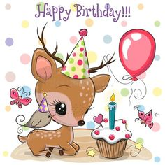 Cute Deer and bird with balloon and bonnets. Birthday card with Cute Deer and bird with balloon and bonnets stock illustration Happy Birthday Greetings Friends, Birthday Wishes For Kids, Birthday Card Sayings, Happy Birthday Baby, Birthday Tags, Happy Birthday Messages, Happy Birthday Quotes, Happy Birthday Images, Friend Birthday