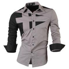 2016 Nuevo y Elegante Diseñado Para Hombre Tops de Vestir Uniforme de Moda Delgada de Manga Larga Camisa Casual Sml XL XXL 8397