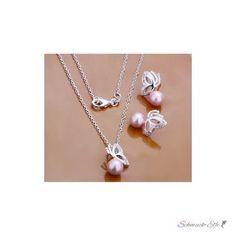 Schmuck Set Kette & Ohrringe Rose Perle Schmetterling...