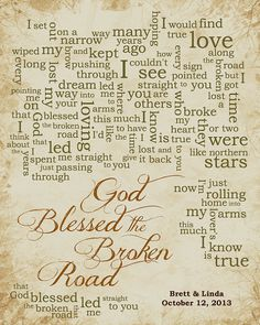 1st Paper Anniversary Gift For Husband Wife Song Lyrics God Blessed The Broken Road By Rascal Flatts Personalized Names Date Pick Colors