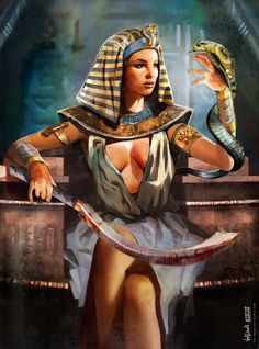 Image discovered by INNA. Find images and videos about drawing, painting and fantasy on We Heart It - the app to get lost in what you love. Warrior Queen, Warrior Girl, Egyptian Women, Egyptian Art, Pharoah Tattoo, Character Inspiration, Character Art, Black King And Queen, Queen Art